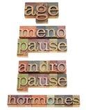 Edad, hormonas, menopausia y andropause Imagen de archivo libre de regalías