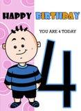 Edad linda 4 de la tarjeta del feliz cumpleaños de la historieta ilustración del vector