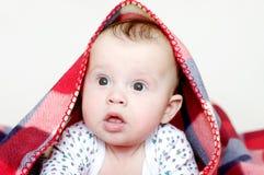 Edad sorprendida del bebé de 4 meses cubiertos por la tela escocesa a cuadros Imagen de archivo