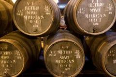 Edades del vino portuario en barriles en sótano Fotografía de archivo