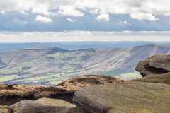 Edale Valley from Kinder stock photo