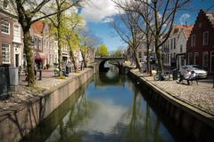 Edam canal. A canal scene in Edam at spring time stock images