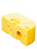 Edam cheese. Piece of fresh edam cheese on white background royalty free stock images