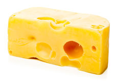 Edam cheese. Piece of fresh edam cheese on white background stock images