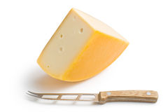 Edam cheese and knife Royalty Free Stock Photos