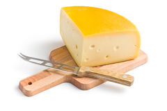 Edam cheese and knife Stock Image