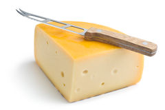 Edam cheese and knife Stock Images