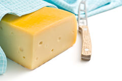 Edam cheese and knife Royalty Free Stock Photo