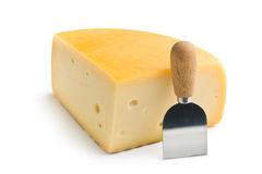 Edam cheese and knife Royalty Free Stock Images