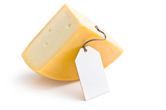 Edam cheese with label Stock Images