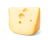 Edam cheese slice. On white background royalty free stock photography