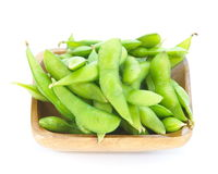 Edamame nibbles, boiled green soy beans Royalty Free Stock Image