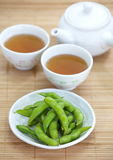 Edamame nibbles, boiled green soy beans Royalty Free Stock Photo