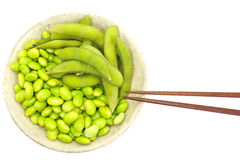 Edamame nibbles, boiled green soy beans, japanese food Royalty Free Stock Images