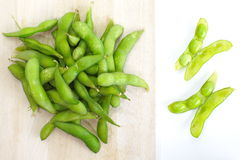 Edamame nibbles, boiled green soy beans, japanese food Royalty Free Stock Image