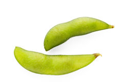 Edamame nibbles, boiled green soybean on white background, japan Royalty Free Stock Photos