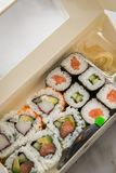 Edamame, salmon, surimi, cucumber and avocado Maki and inside out California sushi with soy sauce, pickled ginger, wasabi and soy stock photos