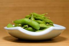 Edamame, soie verdi ha cotto a vapore, spuntino naturale immagine stock