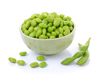 Edamame soy beans in  bowls. On white background Stock Photos