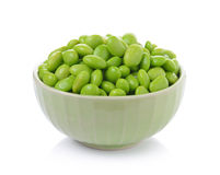 Edamame soy beans in  bowls on white background Royalty Free Stock Photography