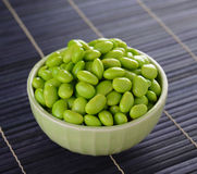 Edamame soy beans in green bowls Royalty Free Stock Image