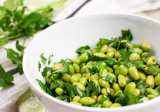 Edamame soy beans salad with parsley Royalty Free Stock Photos