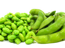 Edamame soy beans shelled and pods Stock Photography