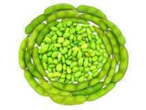 Edamame soy beans shelled and pods Royalty Free Stock Photo
