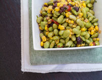 Edamame Soybean Salad with roasted corn vegetarian Royalty Free Stock Image