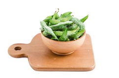 Edamame or soybean on white background Stock Photos