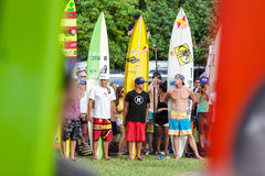 Eddie Aikau traditional hawaiian opening ceremony Stock Photos