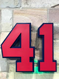 Eddie Mathews retired number. 41 on display with the rest of the retired numbers in the Braves organization at Sun Trust Park in Atlanta, GA Stock Image