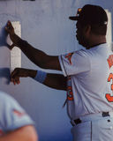 Eddie Murray checking lineup card. Stock Photos