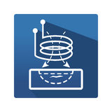 Eddy current pictogram. Science and studies flat icon. Industrial icon in trendy flat style on blue background. Eddy current symbol for your web site design Stock Photo