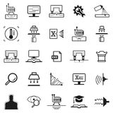 Eddy current pictogram. Set of icon. Eddy current and digital radiography icon, magnet and capillary control, thermography, digital radiography, learning and stock illustration