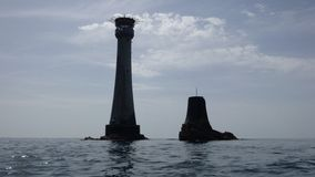 The Eddystone Lighthouse and Smeatons Stump royalty free stock images
