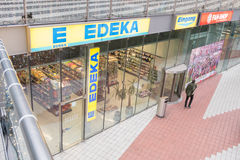 Edeka. Abstract angle on a german Edeka supermarket with lots of copy space Royalty Free Stock Photography
