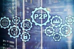 Edele aan edele P2P op het virtuele scherm met een achtergrond van de serverruimte royalty-vrije illustratie