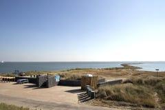 Edele, pier bij de kust van de Oostelijke Schelde Stock Fotografie