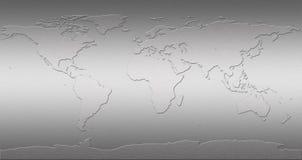Edelstahl-Weltkarte Stockfoto