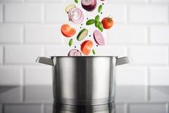 Edelstahltopf mit Gemüse auf dem Induktionsofen stockbild