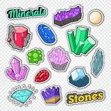 Edelstein-Aufkleber, Ausweise und Flecken Schmuck-Stein-Gekritzel mit Diamanten, Kristall und Mineralien stock abbildung
