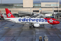 Edelweiss Air Airbus A320 airplane Zurich airport Royalty Free Stock Photo