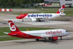 Edelweiss Airbus A320 Air Berlin airplanes Zurich airport Stock Photos