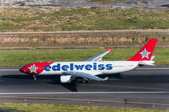 Edelweiss airline airplane taxi for take off Royalty Free Stock Images