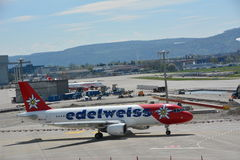 Edelweiss airplane taxiing Stock Photo