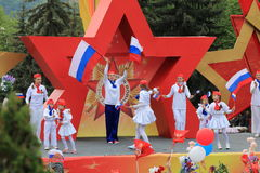 Edelweiss chorégraphique exemplaire d'ensemble dans Pyatigorsk, Russie Victory Day Parade photos libres de droits