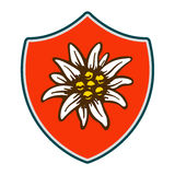Edelweiss shield flower symbol alpinism alps germany logo Stock Images