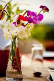 Edelwicke im Vase an der Bankettisch-Einstellung mit Blume am Garten-Patiorestaurant Lizenzfreies Stockfoto