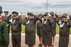 Eden av kadetter av kadettgrupperna i den Kaluga regionen av Ryssland på 10 September 2016 Royaltyfri Fotografi